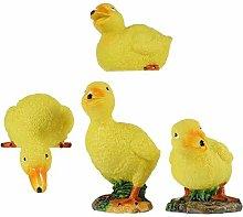 4 statuette di anatra gialla in resina, statua di