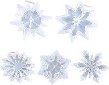 5 ciondoli a forma di fiocco di neve in resina