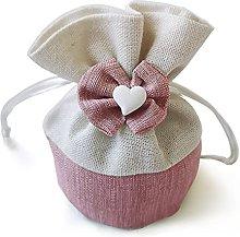 5 sacchetti in cotone con cordoncino di raso per