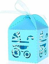 50 PZ Azzurro Scatoline Portaconfetti Bambina per