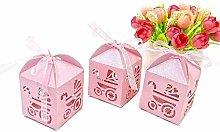 50 PZ Rosa Scatoline Portaconfetti Bambina per