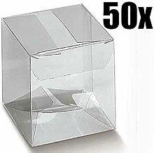 50 PZ Scatola trasparente pvc 9X9X9 cm