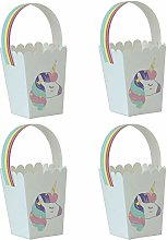 50pz Scatola Cesto Portaconfetti Tema Unicorno