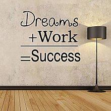 57X50Cm Dream Work Quote Wall Sticker Murale