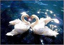 5D Pittura Diamante Lago Coppia Cigno Bianco