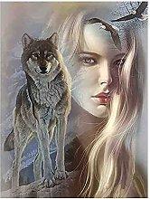 5D Sexy Girl Wolf DIY Rotondo Strass Pittura