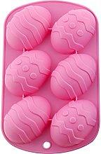 6-Cavity - Stampo in silicone per uova di Pasqua,