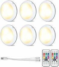 6 luci LED ricaricabili RGB per armadio, luce