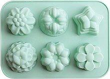 6 tazze 3d torta torta stampo in silicone fiori