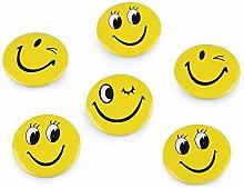6pc Ellow Pulsanti Badge - Smiley Emoticon