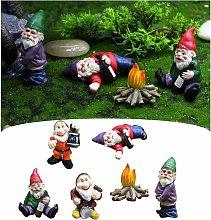 6pcs nani da giardino statue miniature giardino