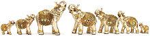 7PCS Elefante Scultura Statua In Resina Mini