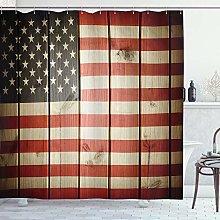 ABAKUHAUS Bandiera Americana Tenda da Doccia, Wood