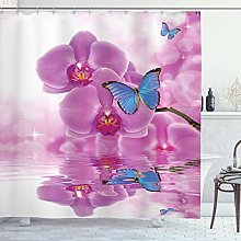 ABAKUHAUS Farfalle Tenda da Doccia, Orchid Bloom
