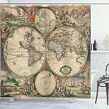 ABAKUHAUS Mappa del Mondo Tenda da Doccia, Antique