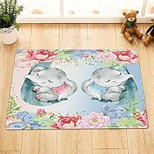 Acquerello carino bambino elefante fiore tappetino