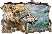 Adesivi da Parete 3D,lupo pericoloso DIY Adesivo