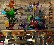 Adesivi da parete 3d Musica rock tavola di legno