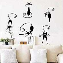Adesivi da parete carino gatto set di 5 divertenti