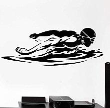 Adesivi Murali 38X100Cm Nuoto Logo Nome Nuotatore