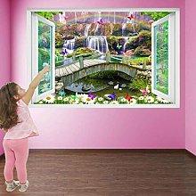 Adesivi murali 3D Cascata Fiori Farfalle