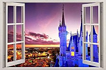 Adesivi murali 3D Castello 3D Adesivo per finestra