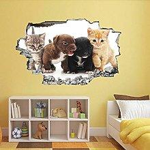 Adesivi murali - 3D - Cuccioli Gattini Gatti Cani