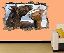Adesivi murali - 3D- DUE CAVALLI CHE GIOCANO