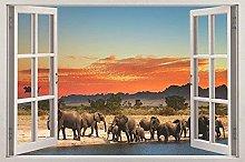 Adesivi murali 3D Elefante Tramonto 3D Adesivo per