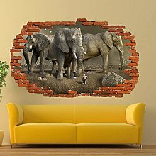 Adesivi murali 3D FANTASIA ELEFANTI GIGANTI