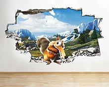 Adesivi murali 3D Film Animali Bambini Letto Buco