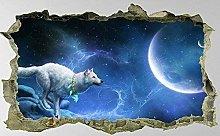 Adesivi murali 3D lupo, luna, arte della parete,