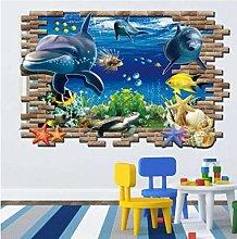 Adesivi Murali 3D Ocean Dolphins Home Decor