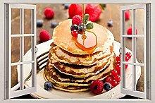 Adesivi murali 3D Pancake 3D Decalcomanie da