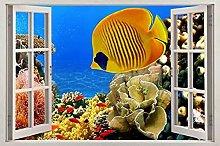 Adesivi murali - 3D- Pesci tropicali finestra