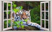 Adesivi murali 3D Tigre Animale selvatico 3D