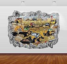 Adesivi murali 3D Trattori Diggers Graphic 3D