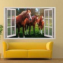 Adesivi murali - 3D - Tre bellissimi cavalli