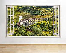 Adesivi murali 3D Treno Ferrovia Finestra Verde