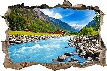 Adesivi Murali adesivo da parete montagne buco