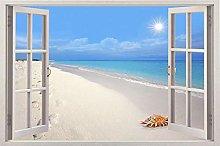 Adesivi Murali Adesivo per finestra 3d sunny beach