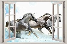 Adesivi Murali Al galoppo cavalli bianchi 3D
