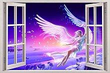 Adesivi Murali Angelo 3d finestra vista