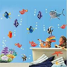 adesivi murali bolla di pesce di mare subacqueo