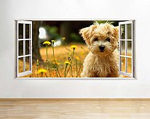 Adesivi murali Cane Animale domestico Fiori carini