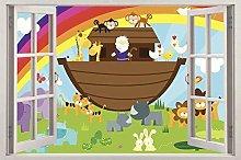 Adesivi Murali Cartoon animale 3d finestra vista