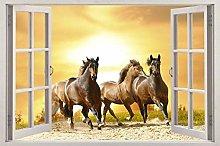 Adesivi murali Cavalli nel tramonto 3D finestra