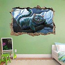 Adesivi Murali Cheshire Cat Wonderland 3D Smashed