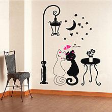 Adesivi murali, coppia gatto cartone animato