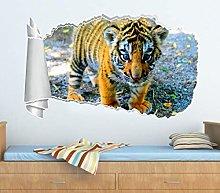 Adesivi Murali Cucciolo di tigre 3D Buco strappato